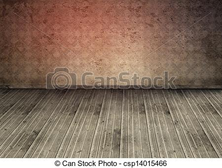Stock Image of Empty room with dirty floorboards and outmoded.