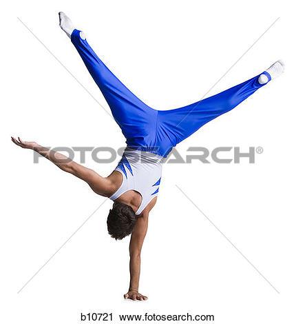Stock Photography of Male gymnast doing floor exercises b10721.