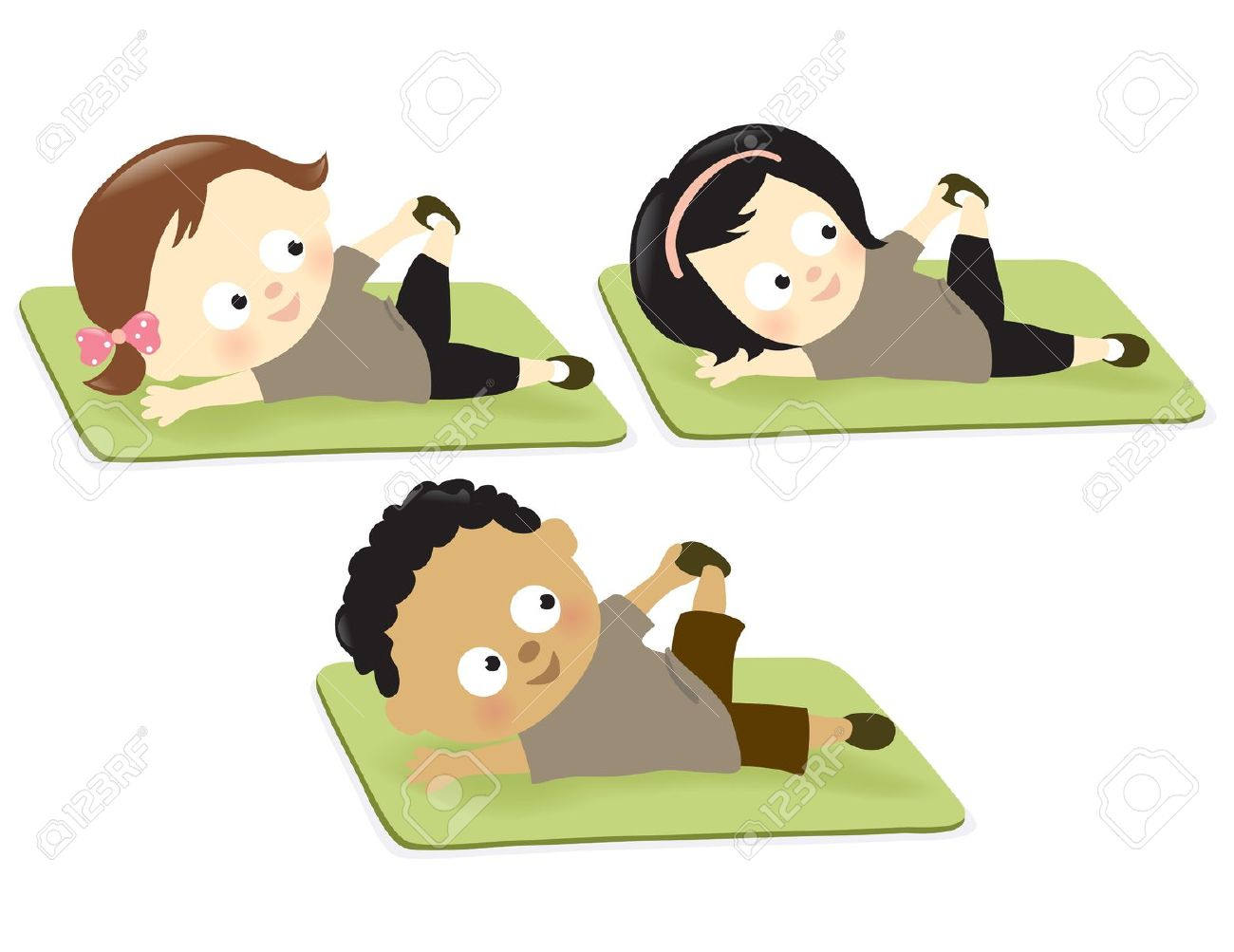 Kids on floor mats exercising free clipart.