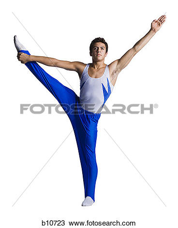 Stock Photo of Male gymnast doing floor exercises b10723.
