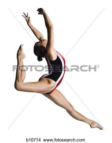 Stock Photography of Female gymnast doing floor exercises b10711.