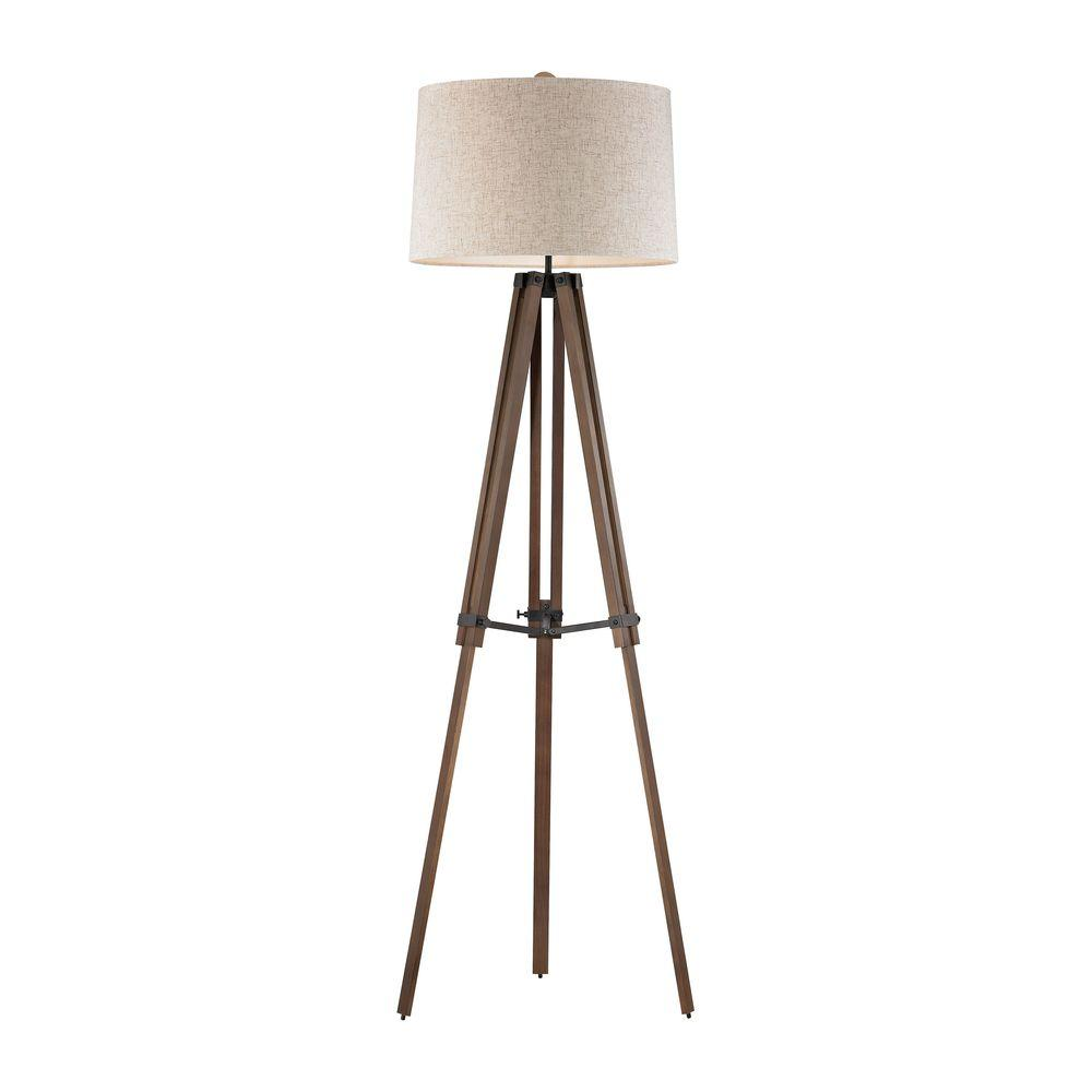 Titan Lighting Wooden Brace 62 in. Oil Rubbed Bronze and Wood Tripod Floor  Lamp.