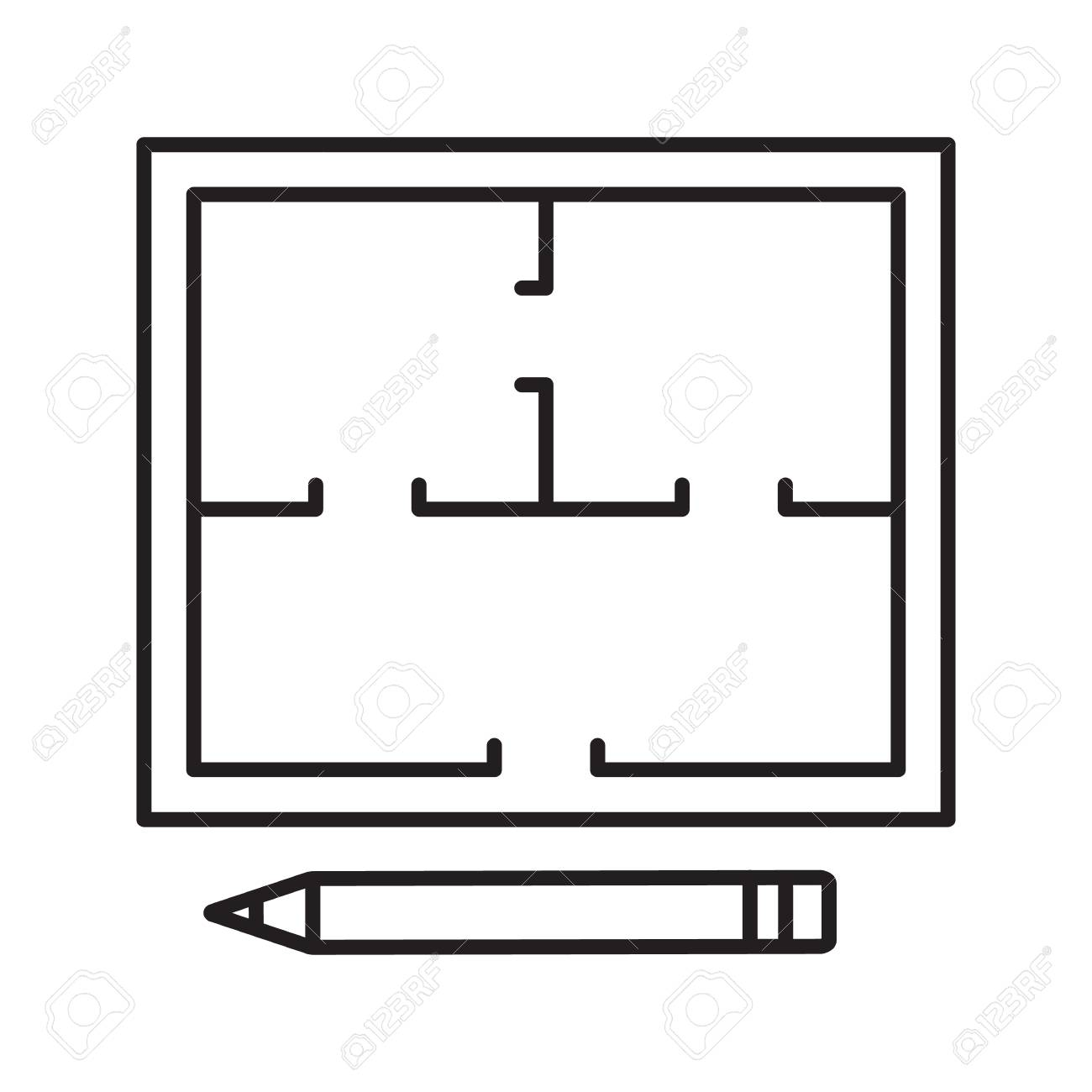 Floor plan linear icon. Thin line illustration. Flat blueprint.