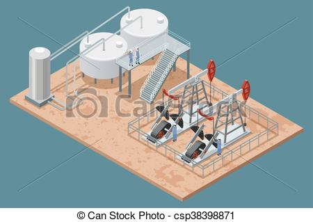 Vectors Illustration of Oil Production Facilities Isometric Poster.