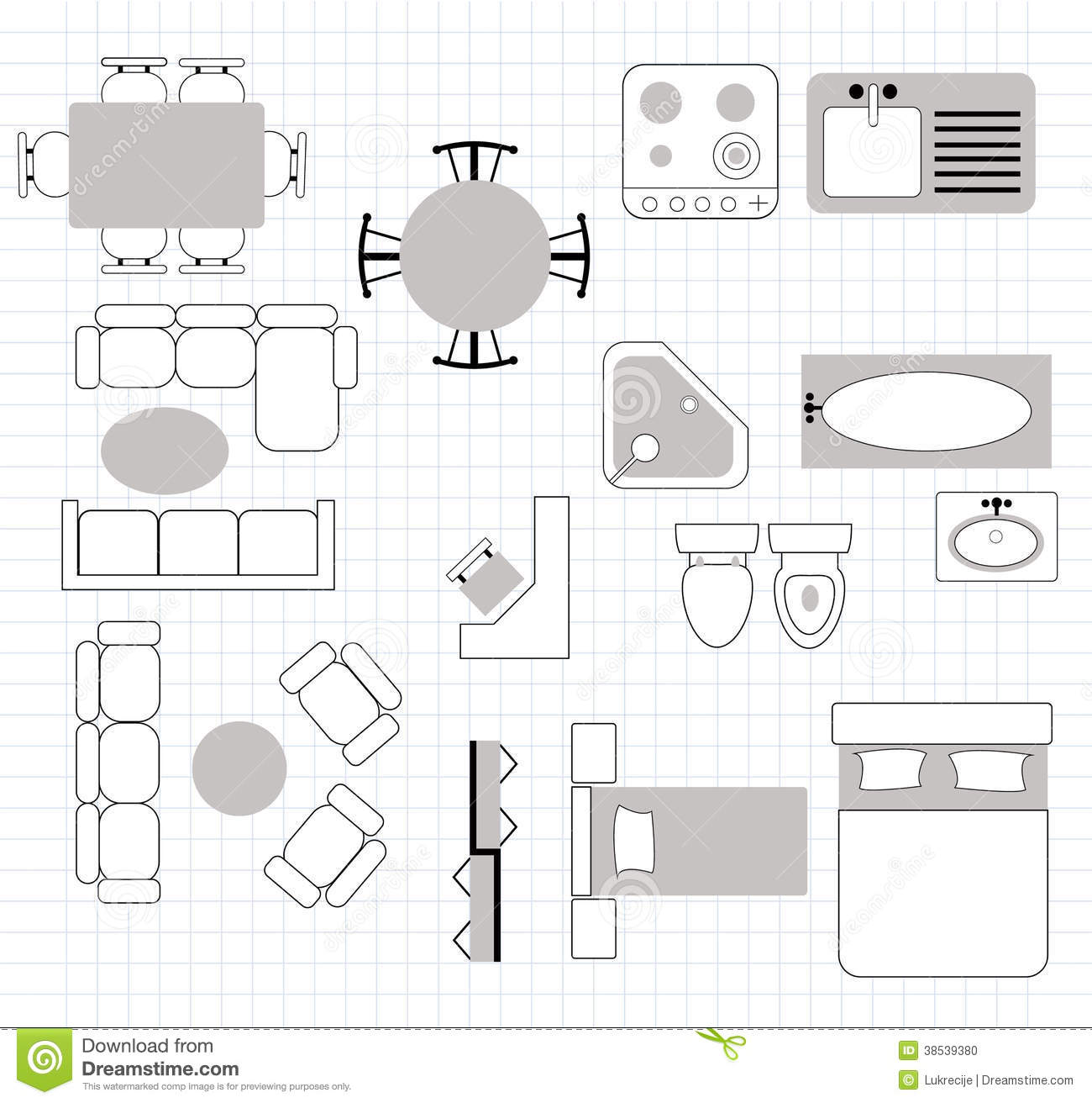 Clipart furniture floor plan clipground for Blueprint drawing program