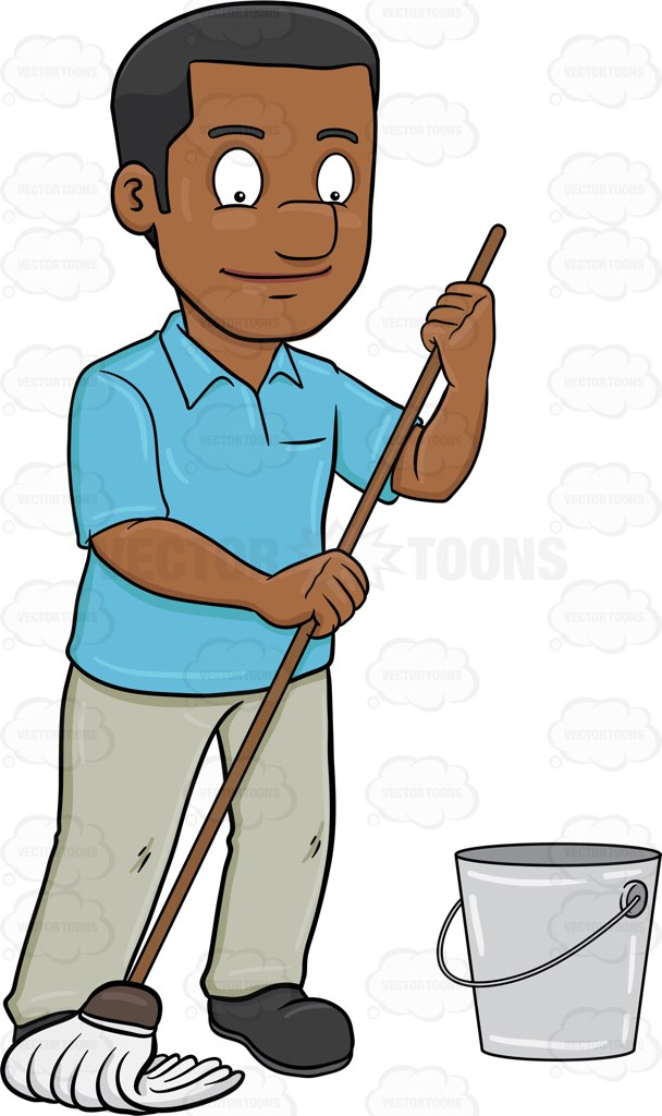 Mopping floors clipart.