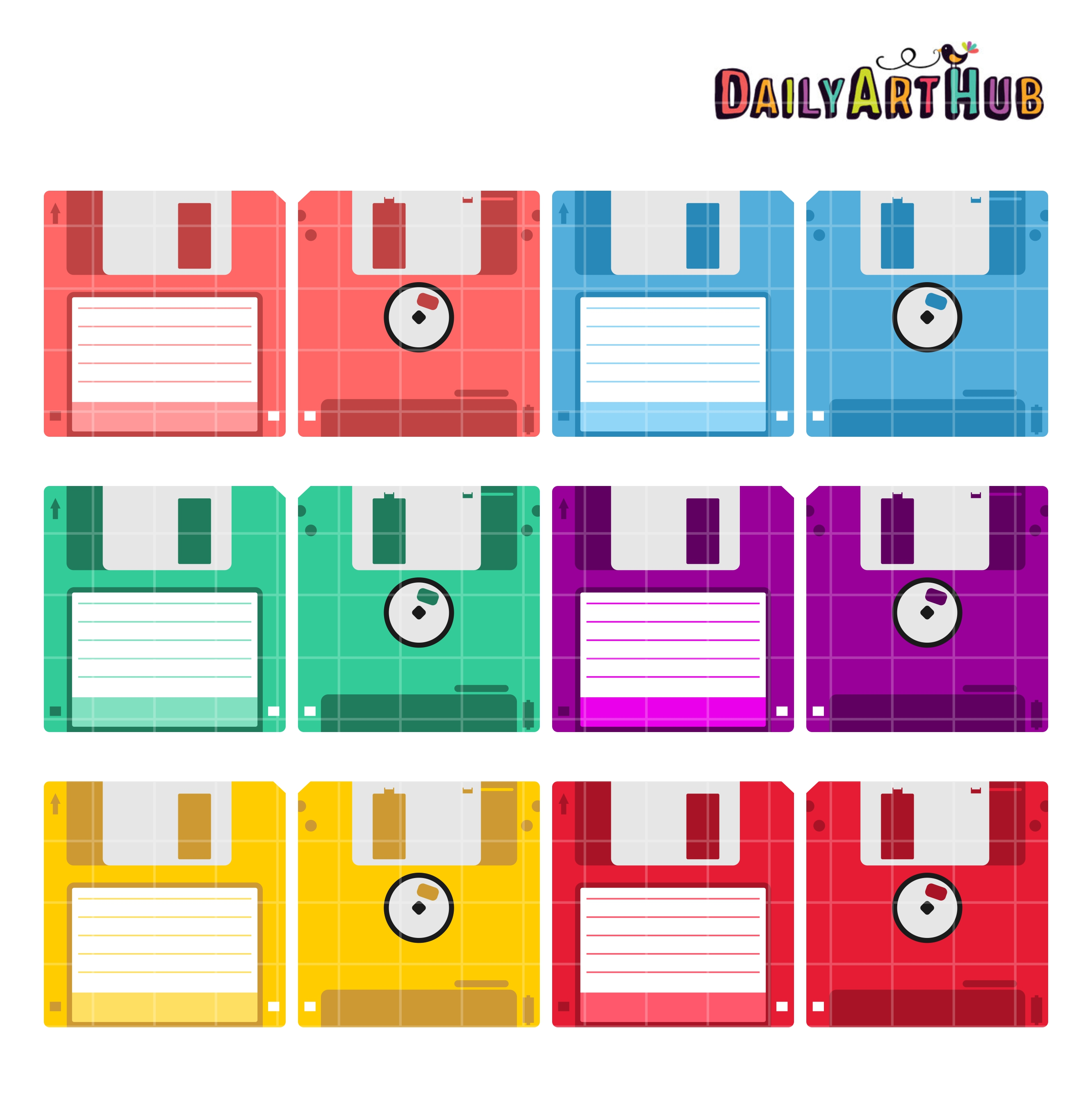Floppy Disks Clip Art Set.