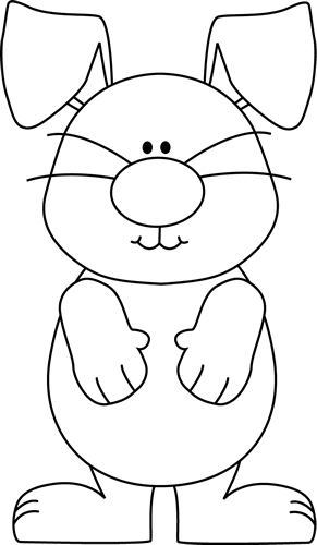 Black and White Bunny with Floppy Ears Clip Art.
