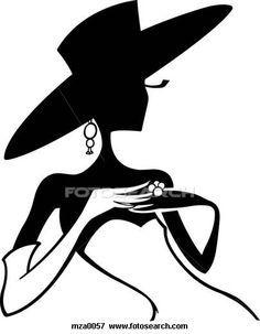 floppy hat lady silhouette.