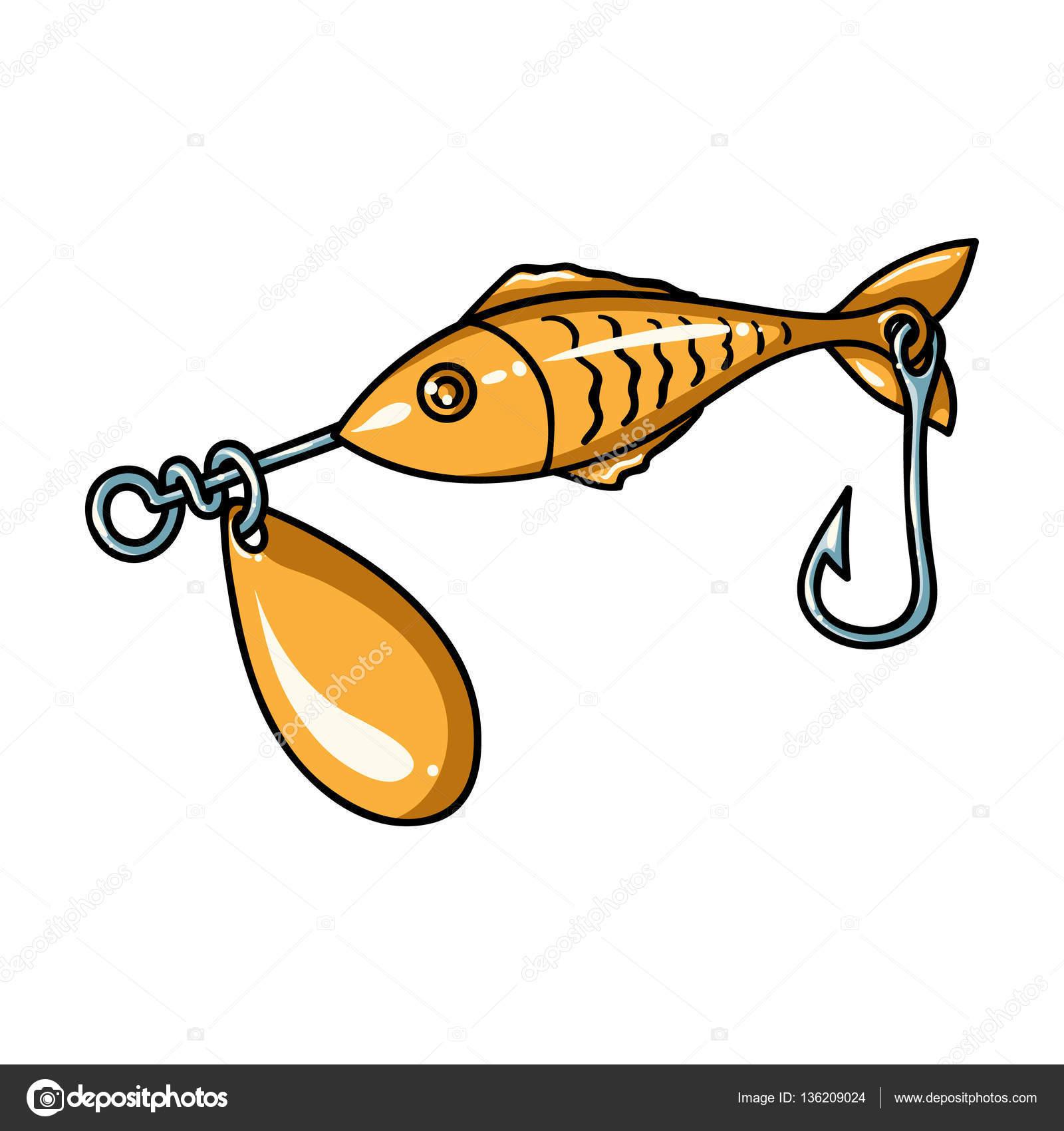 Icono de cebo de pesca en estilo de dibujos animados aislado sobre.