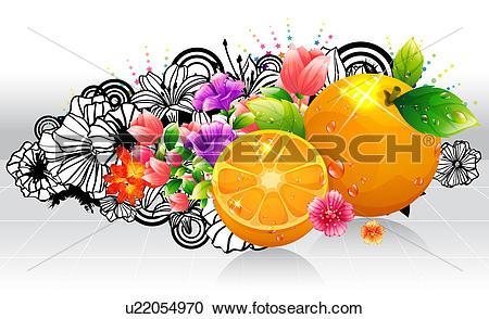 Stock Illustrations of Oranges fruit with flora design u22054970.
