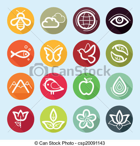 EPS Vector of Vector flat icon set.