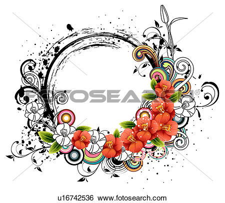 Stock Illustration of Oval Shape with flora elements u16742536.