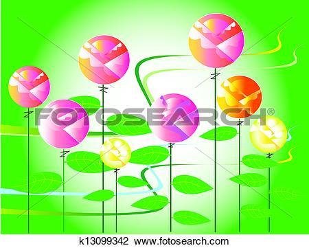 Clip Art of rose flora design k13099342.