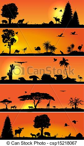 Clip Art Vector of Vector banners with wold fauna and flora.