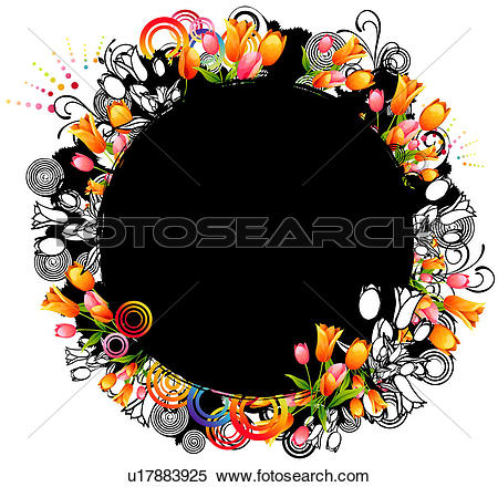 Stock Illustration of Oval Shape with flora design u17883925.