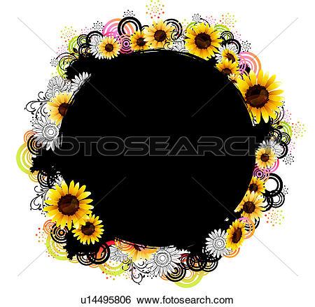 Stock Illustration of Oval Shape with flora design u14495806.