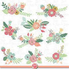 """Flowers clip art""""FLOWER CLIP ART"""" Clipart, Vintage Flowers, Floral."""