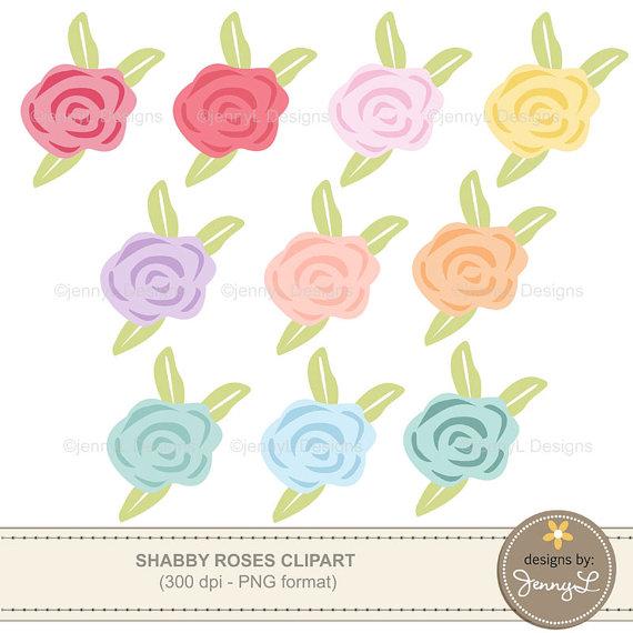 Rose Clipart, Shabby Pastel Color Roses, Flowers, Flora, Flower.
