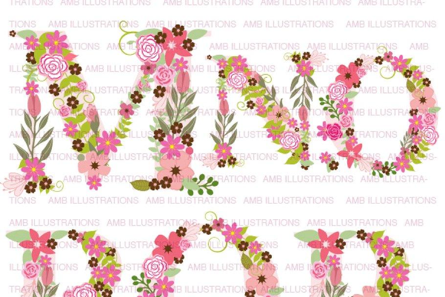 Floral Letter Clipart, AMB.