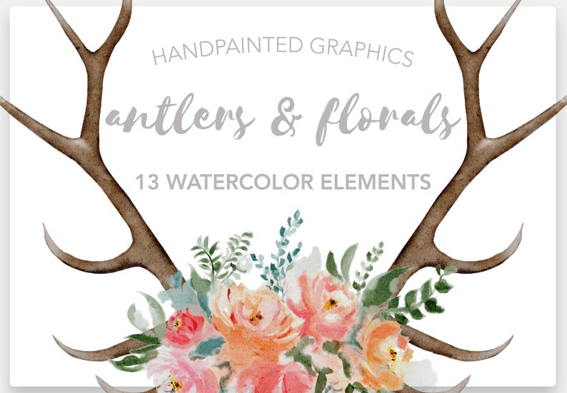 FLORAL ANTLER Clipart, commercial use, muted florals, antler floral  graphics, bohemian watercolor clipart elements, flower illustrations.