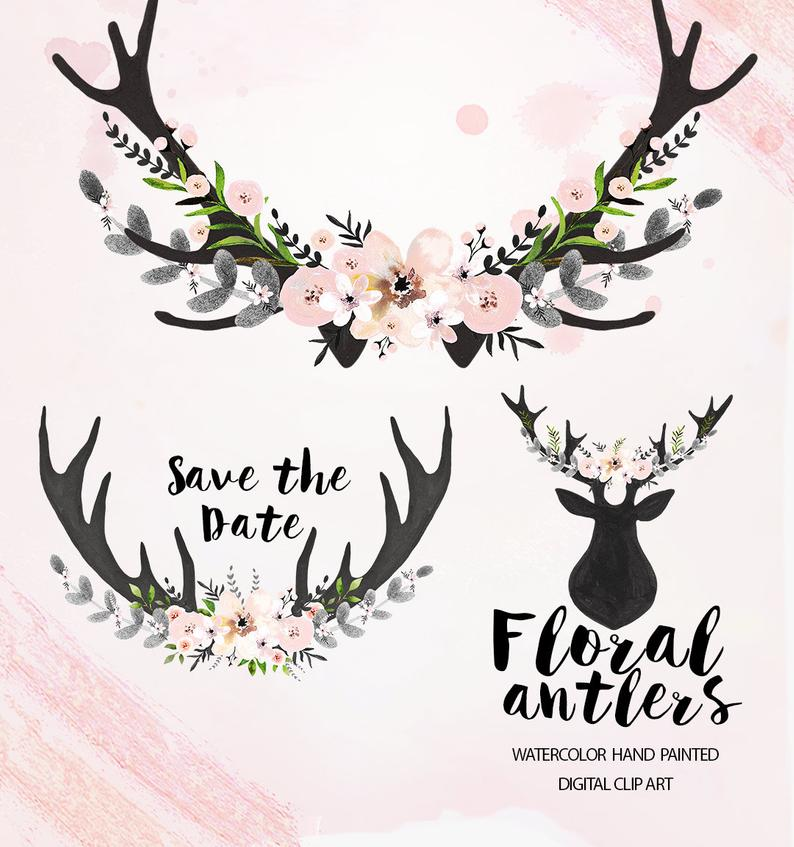 Watercolor Floral antlers Clipart, Wedding floral Clip art, pastel flowers,  wedding flowers clip art, Watercolour Hand Painted Clip Art.
