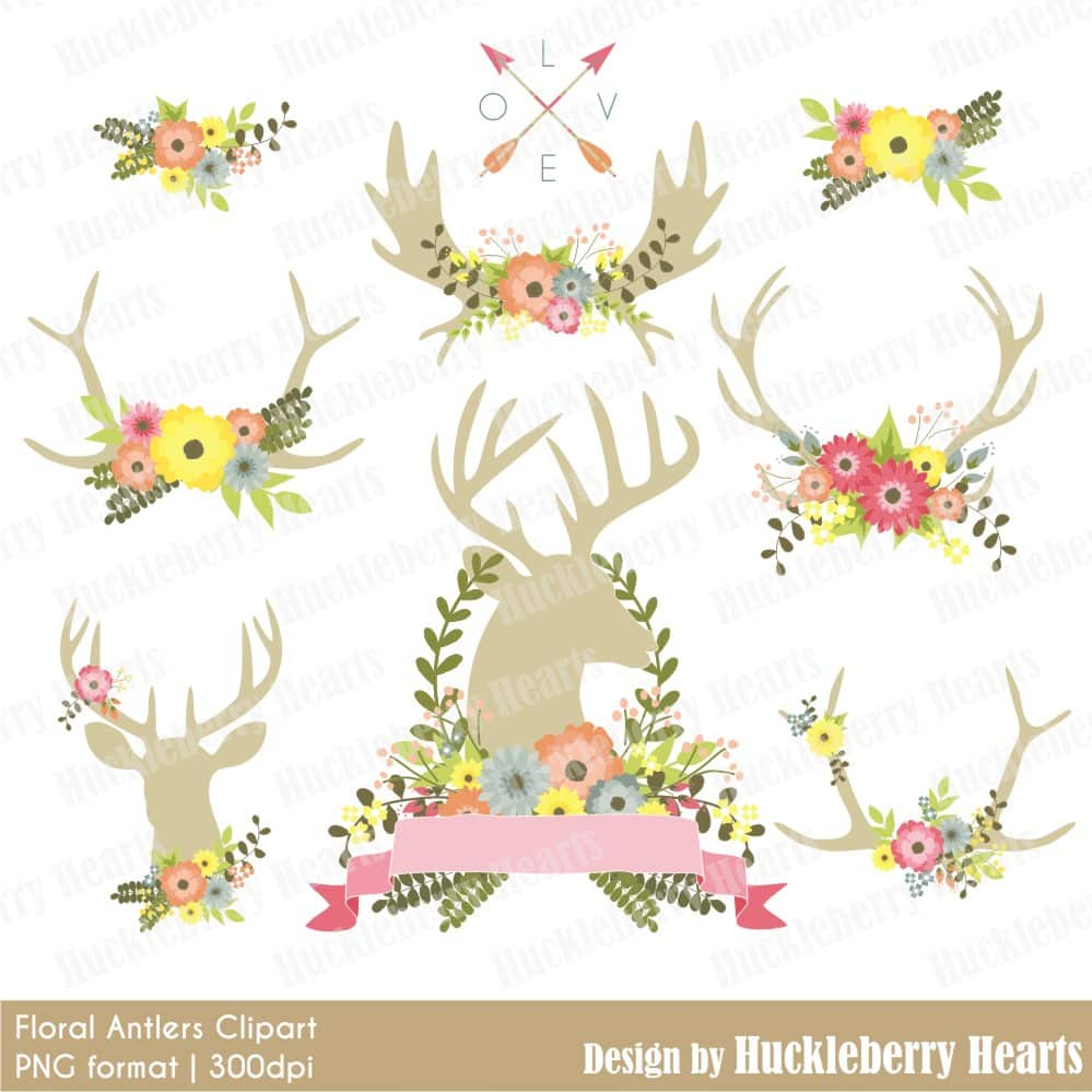 Floral Antlers Clipart.