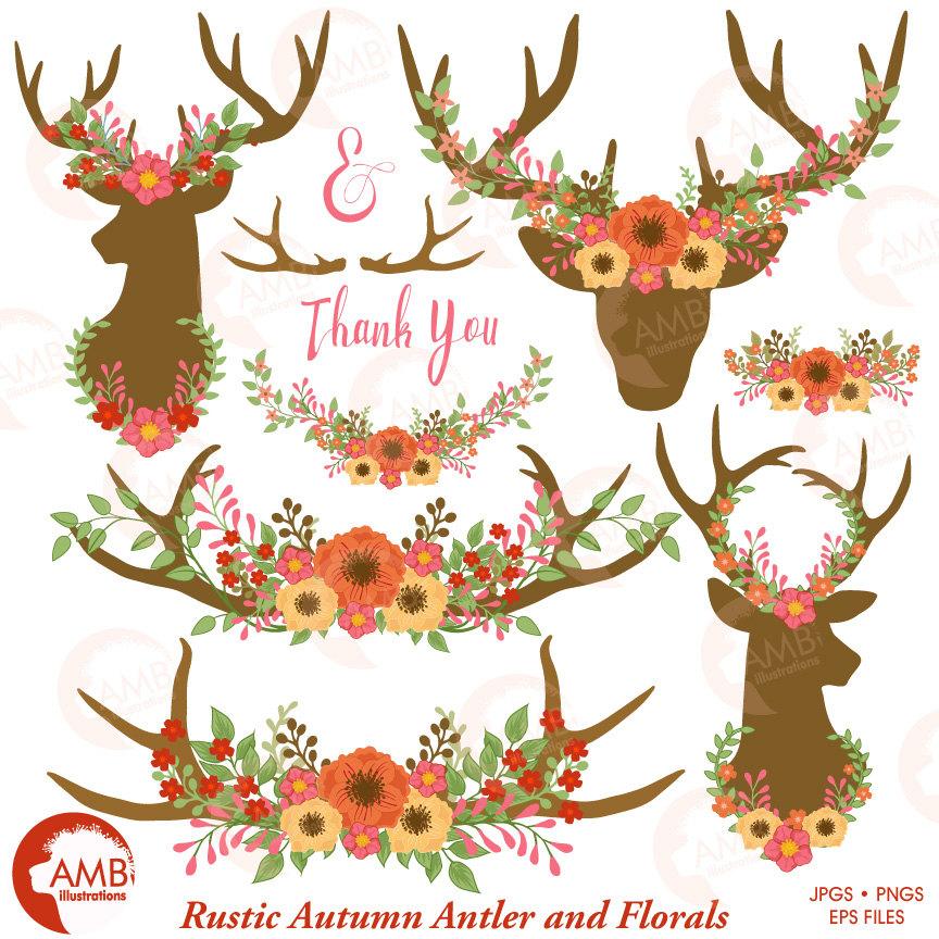 Wedding Clipart, Floral Antlers, Antler and Floral Embellishments, Floral  Deer Antler Clipart, Rustic Wedding clipart, AMB.