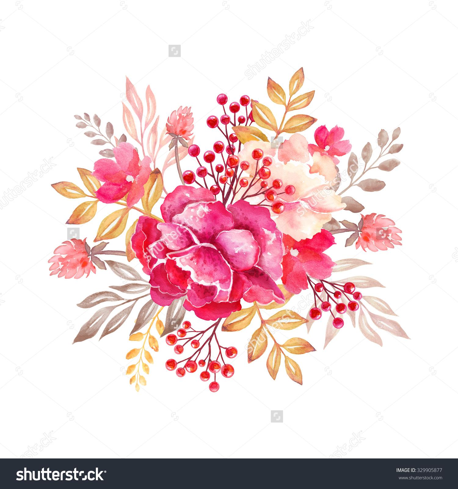 Floral Arrangement Round Bouquet Flowers Design Stock Illustration.