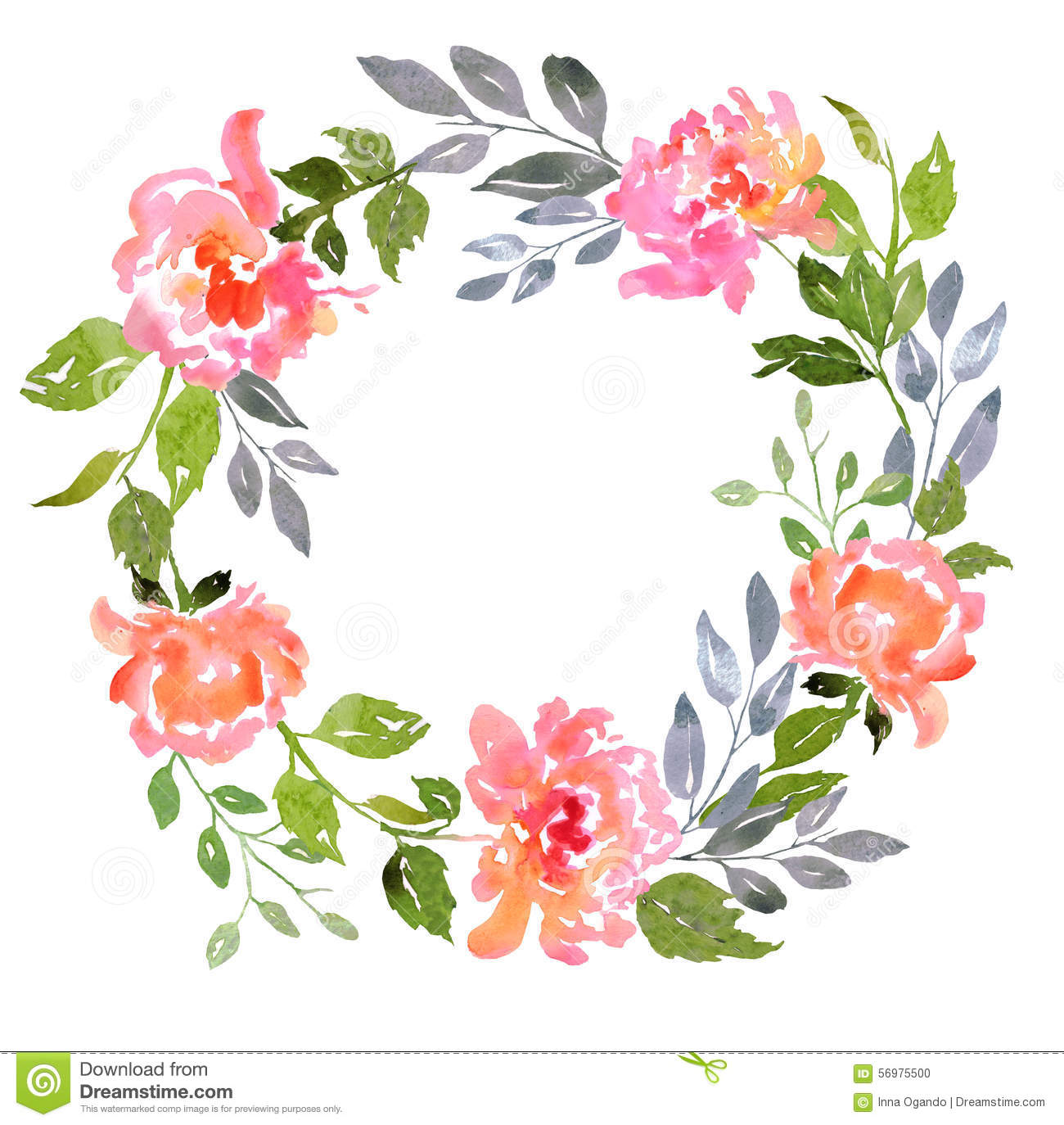 Set Of Watercolor Floral Composition Stock Illustration.