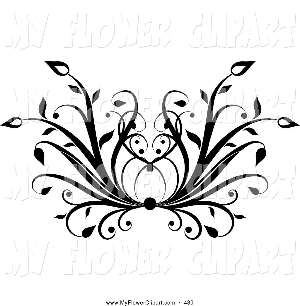 Floral black clipart.