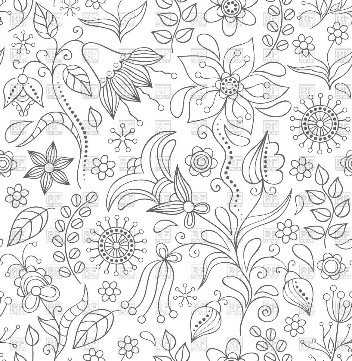 Seamless doodle floral background Stock Vector Image.