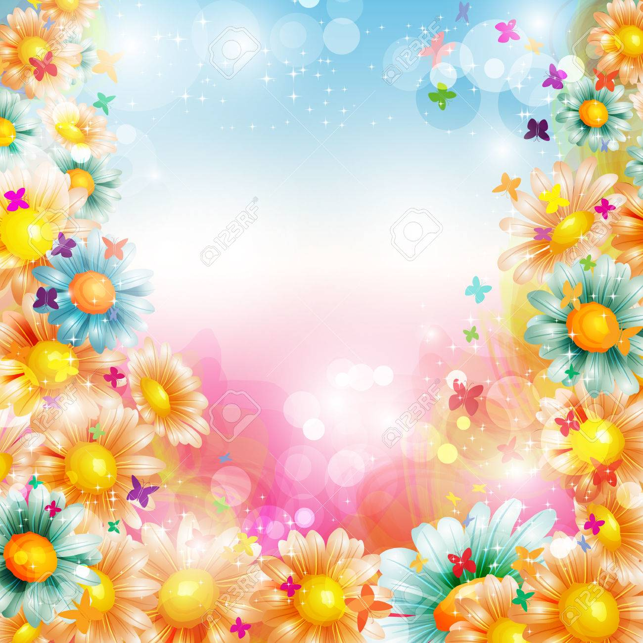 Abstract colorful bright summer or spring floral background with...