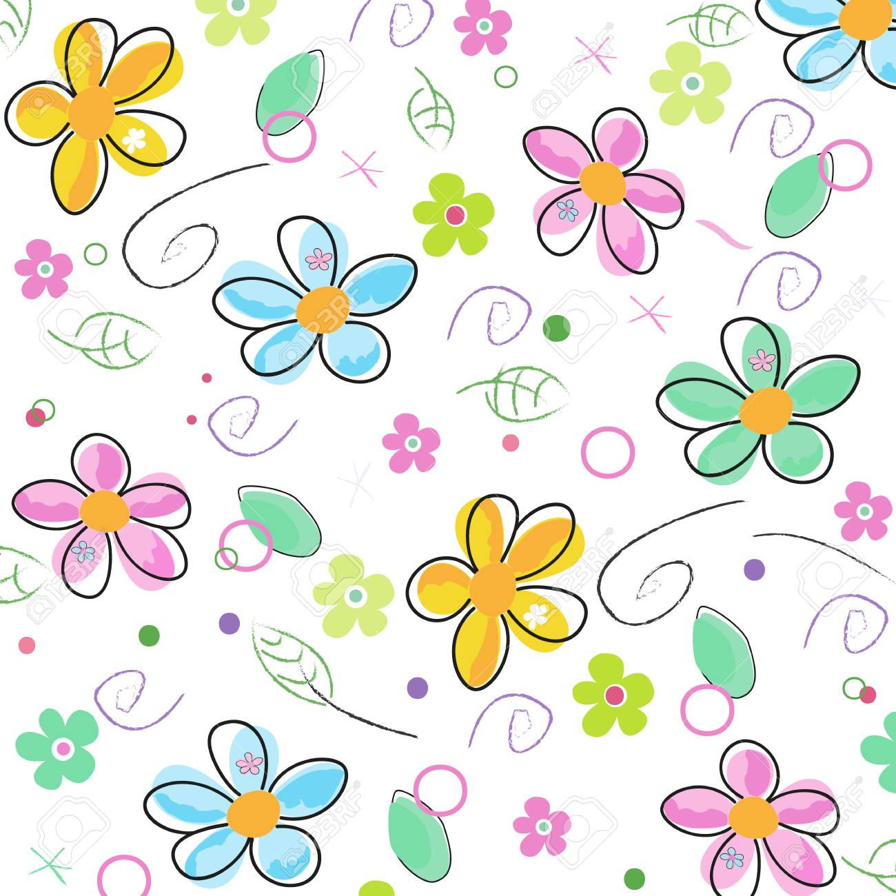 Colorful doodle spring flowers background.
