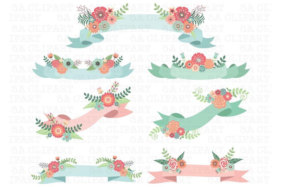Wedding Floral Banner Clipart.
