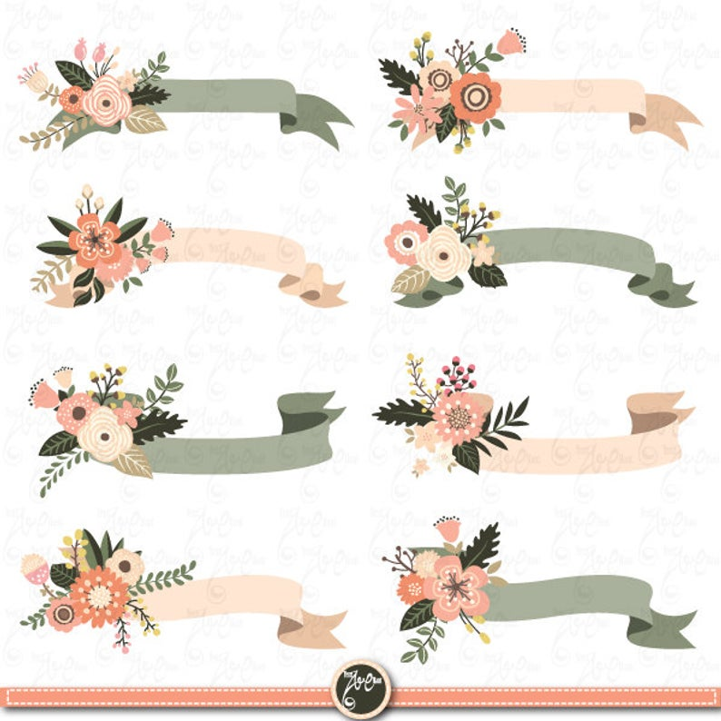 Floral Banners clipart