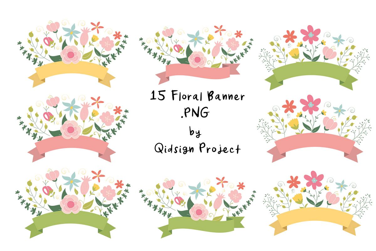 15 Floral Banner Clipart PNG.