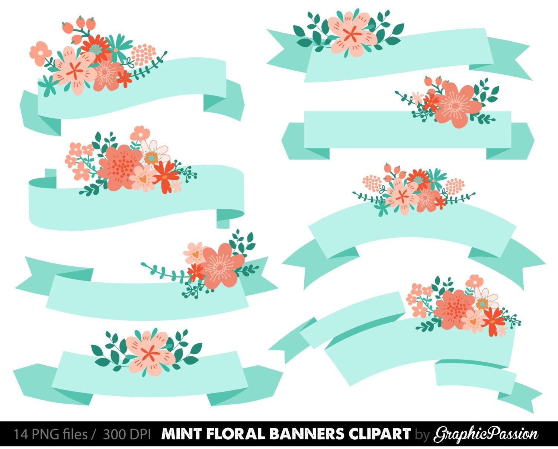 Digital Floral Banners Clipart Mint Digital Wedding Floral Clip Art  Scrapbooking Wedding Invitation Mint Coral Peach.