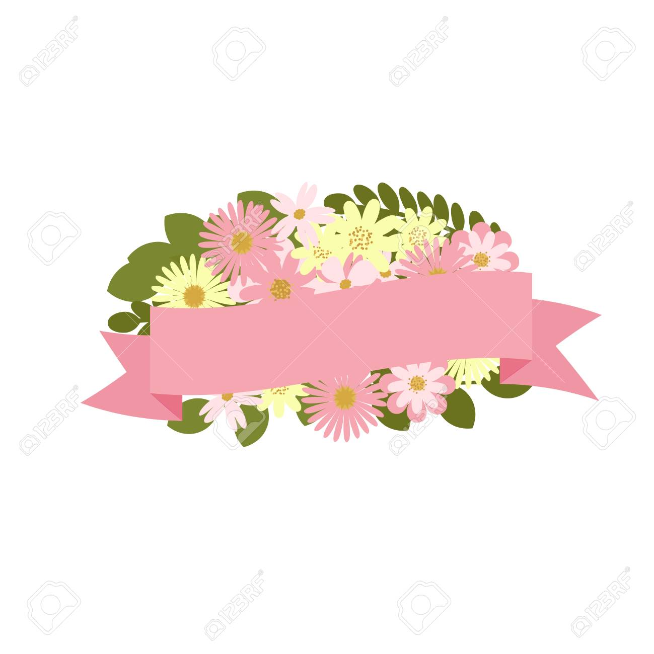 Vector bouquet with ribbon banner. Floral decoration..