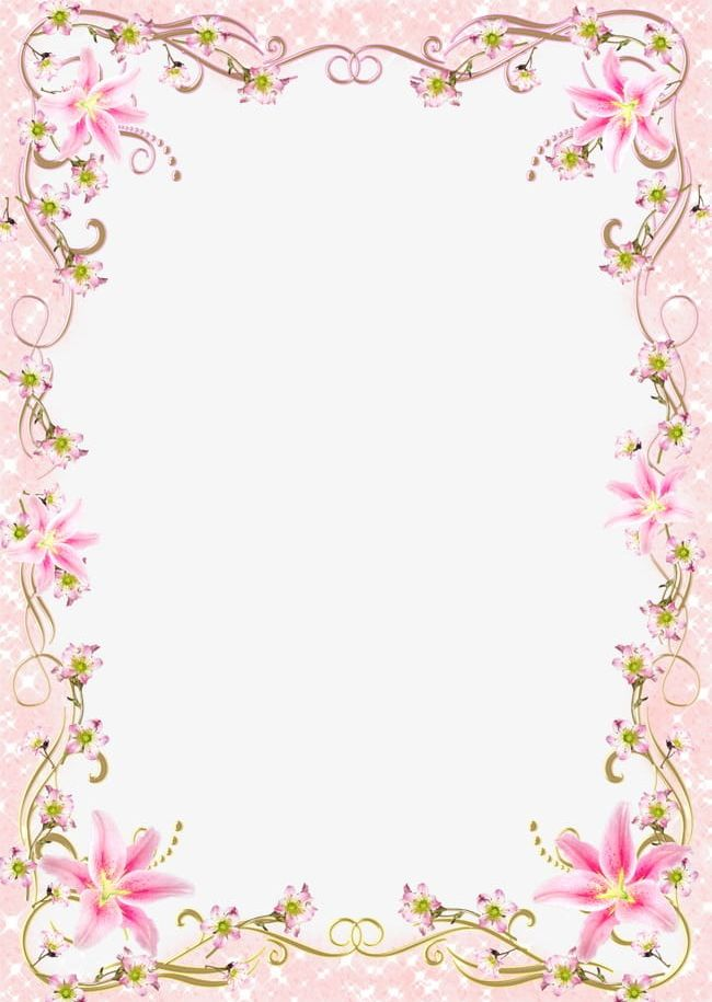 Floral Border Frame Romantic Pink Line PNG, Clipart, Abstract.