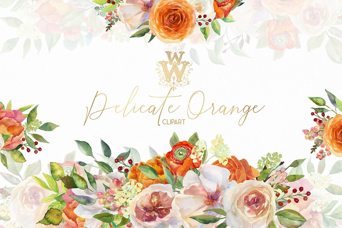 Watercolor orange flower border clip art ,Peach Pink peonies.
