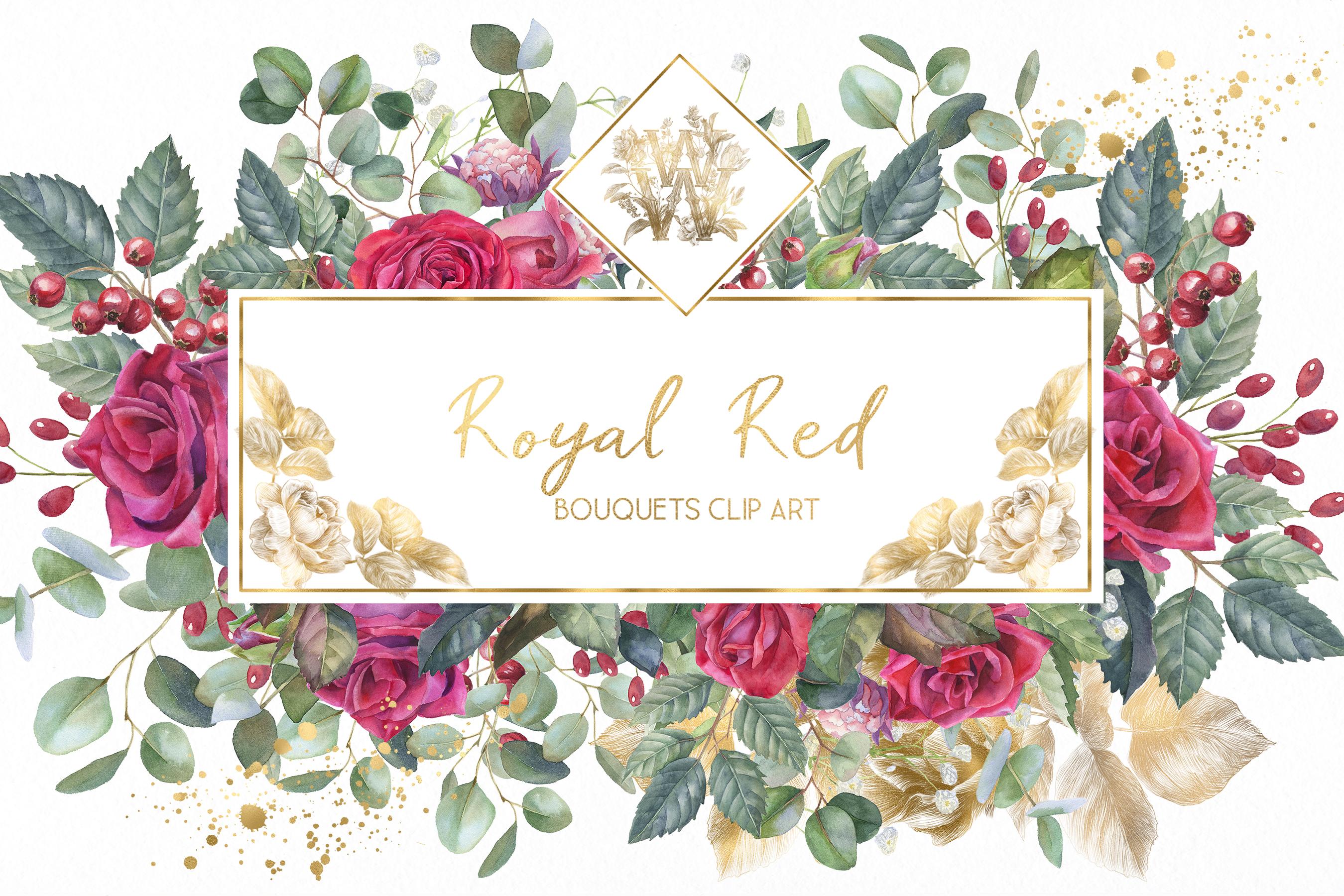Marsala red rose floral border clip art, wedding Watercolor.