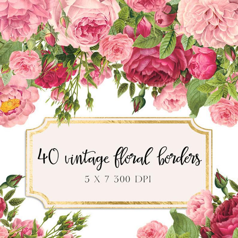 Vintage Floral Borders Clipart Shabby Chic Clipart.