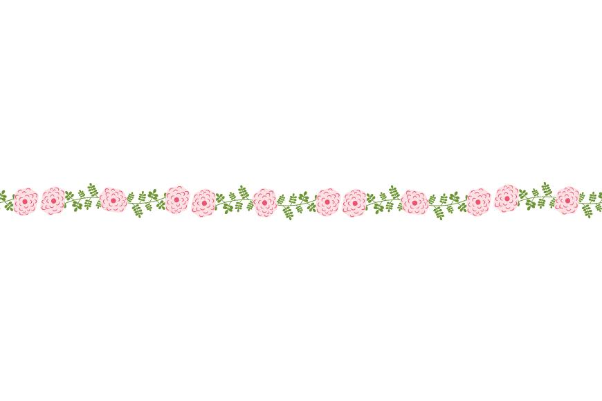 Pink floral border clipart, Cute flower divider edging.