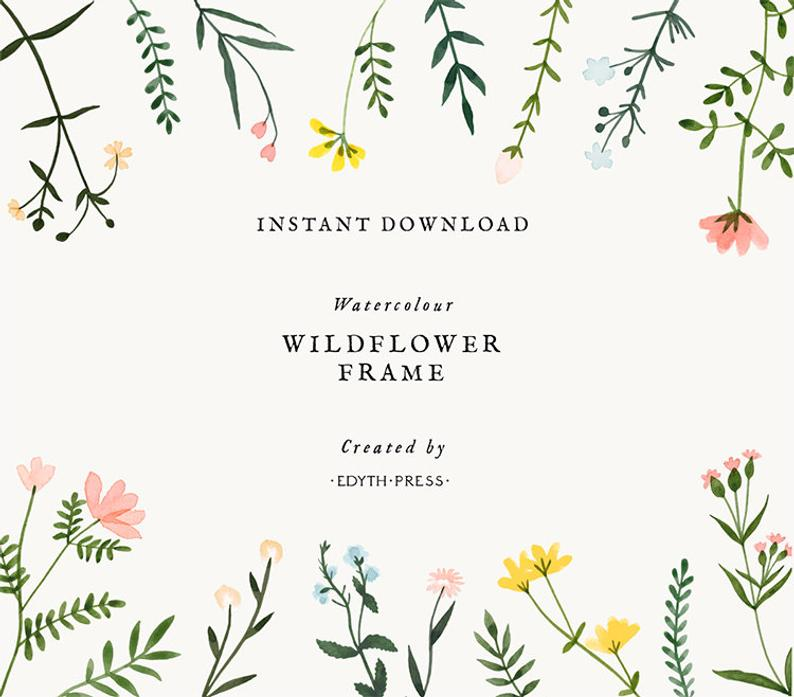 Wildflower Watercolor Floral Border Frame Clipart Flowers Background  Botanical Meadow Illustrations Hand Painted png clip art printable.