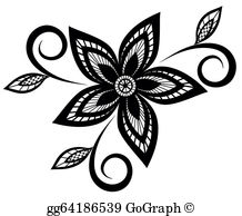 Black And White Floral Clip Art.