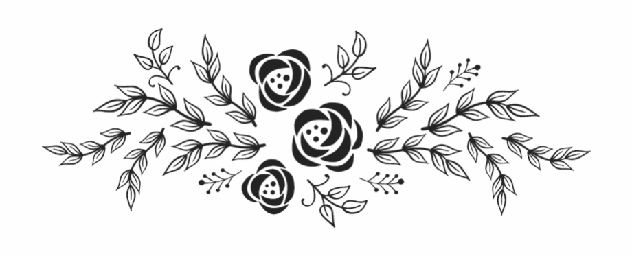 Flowers With Garland Rubber Stamp.