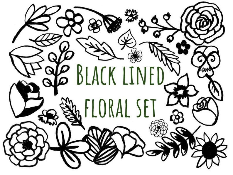 Black Lined Floral Clip Art, hand drawn clip art set, hand drawn floral,  doodle clip art, create coloring pages, black and white clip art.
