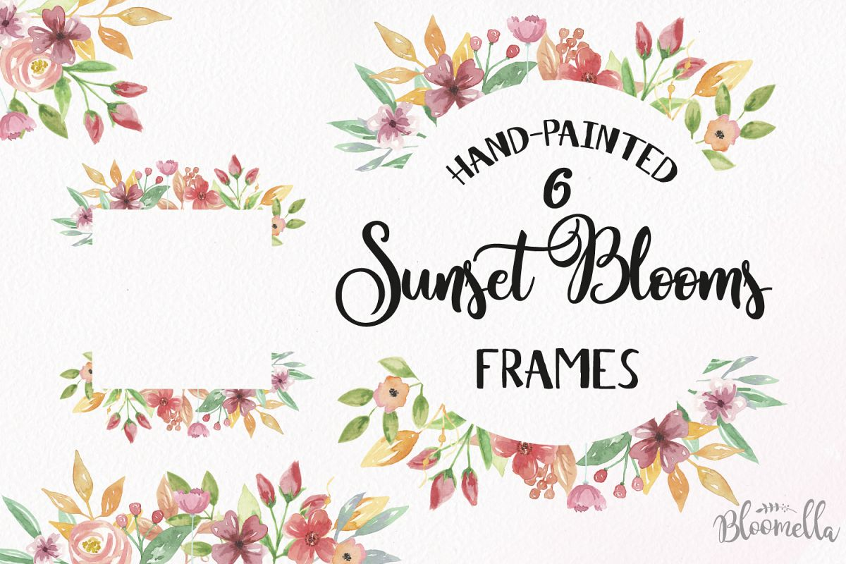 Sunset Blooms Frames Watercolor Red Pretty Clipart Border Yellow Flowers  Florals.