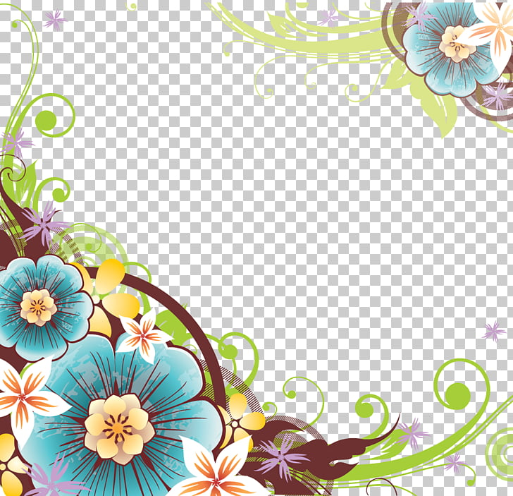 Flower , Flowers Borders File, teal and pink floral border.